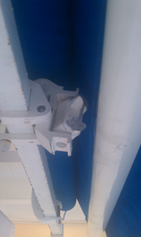 Example of competitor's rusted awning frame.